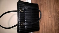 Women's Laptop Carrying Case Black Leather