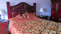 Moving Sale - Cherry Wood Master Bed Queen Set - 8 pieces