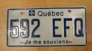 plaque d'immatriculation QUEBEC #592 EFQ