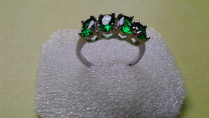 Ladies White Gold Filled Emerald Ring Size 6.5