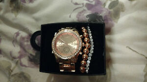 Rose gold watch and 2 bracelets