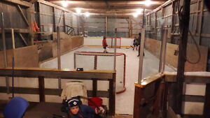 outdoor hockey arena rink glass and puckboard London Ontario image 1