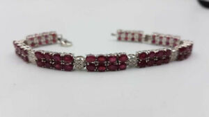 "Sterling Silver & 32ct Genuine Ruby 7"" Bracelet (128 rubies)"