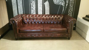 CUSTOM MADE TUFTED LEATHER CHESTERFIELD COUCH WING CHAIR WING