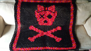Red, Pink, Orange, and Black Skull Blanket Crochet