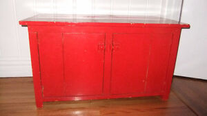 super useful solid wood box with lower cupboard with shelf