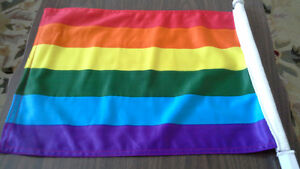 PRIDE RAINBOW COLOURED CAR FLAGS, .party decorations