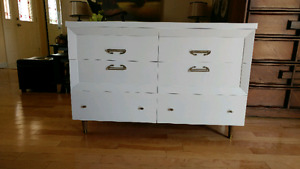 Solid wood mid century retro style 6 drawer dresser