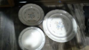 Dinner ware, tea cups and glasses. and 3 thermos