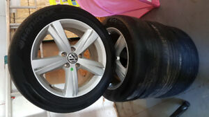 VW rims with Hankook tires - 215/55r/17. PRICED FOR QUICK SALE