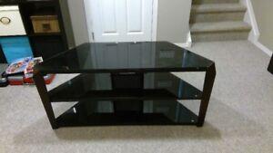 TV Entertainment Stand - Black Glass corner unit