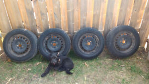 """4- 15""""; winter tires and steel wheels 5x112 VW"""