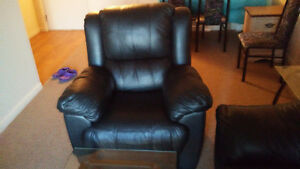 Moving Sale: Leather Couch, Chair, Glass Coffee Table