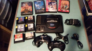 SEGA GENESIS SYSTEM COMPLETE WITH 10 GAMES AND HOOK-UPS
