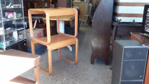 PAIR OF TEAK STYLE END TABLES GORGEOUS ONLY $ 55.00