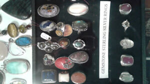 Gemstone rings,pendants in sterling silver and gold.