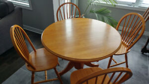 Solid wood round kitchen table dining 4 chairs