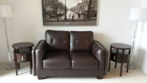 Genuine Leather Couch and Side Tables
