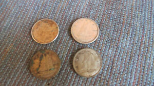 4 Canadian dimes-1939,60,65,68