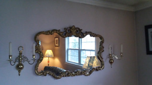 Vintage Mirror and Wall Sconces For Sale!