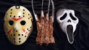 Selling various horror masks and props (Scream, Friday the 13th)