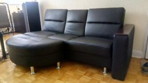 Black Couch with Cup Holders + Armrest + Footrest