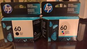 HP Ink Cartridges (Qty 2) 60 Black and 60 Tri- Color New