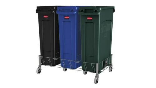 Rubbermaid 1956192 Slim Jim Three Container Stainless Steel Dolly Triple Trolley