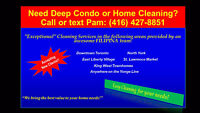 Condo/Home Cleaning *Downtown + North York*:(416) 427-8851
