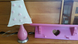 PINK  WOOD SHELF WITH HEART CUT OUT AND MATCHING LAMP