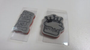 party cupcake birthday rubber cling stamps