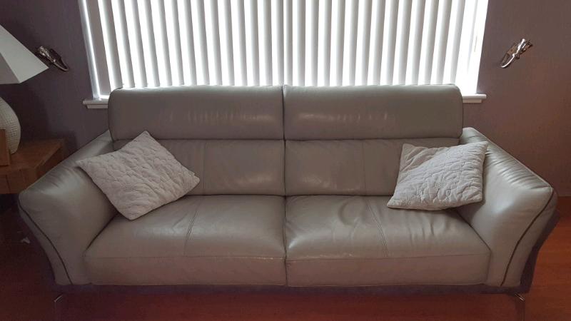 3 Seater Italian Leather Dfs Sofa X2 In Blantyre
