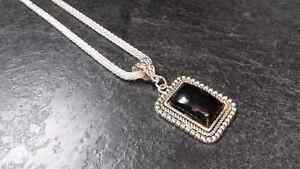 Black & Silver Tone Pendant and Necklace