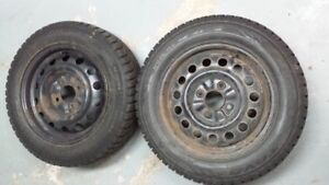 Two winter Tires 185/65/R15  on Rims 4 bolts