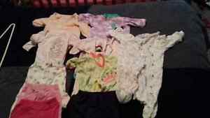 0-3 month baby girl sleepers and pants