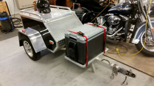 Factory built aluminum motorcycle touring trailer with extras