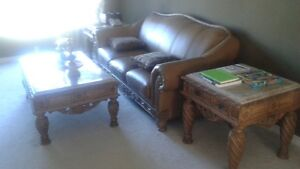Leather living room set with 3 tables
