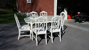 Queen Anne style glass top table