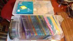 Blank DVDs  and  colourful CD envelopes and plastic cas