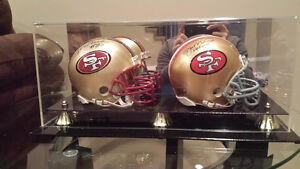 Rice, Montana and Lott Signed Mini Helmets with Display Cases