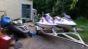 2 seadoo and double trailer