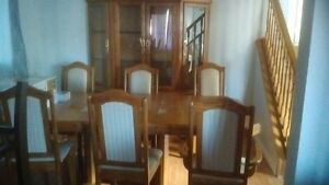 Glass china cabinet, 6 chairs + 10 ft table!  Cambridge Kitchener Area image 1