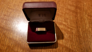 10K Mens Gold Ring with Two Rubies for 30 Years Service