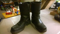ATS Size 10 Leather Motorcycle Boots with Metal Mounts and Ankle