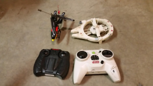 Two RC helicopters