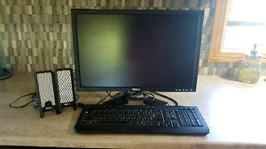 """Dell 20"""" LCD monitor, keyboard and speakers"""