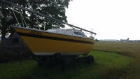 Shoal draft sailboat with trailer