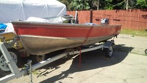14' lund fishing boat/trailer w 25 hp Yamaha outboard