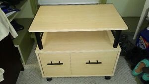 PRINTER TABLE WITH STORAGE AND FILING CABINET