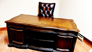 Executive Office Chair + Wooden Desk & Hutch Set (Negotiable)